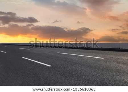 Road surface and sky cloud landscape #1336610363