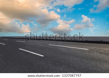 Road surface and sky cloud landscape #1337087747