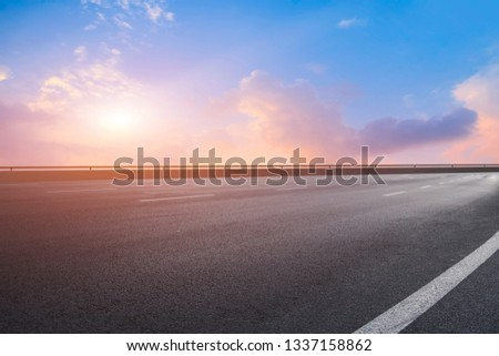 Road surface and sky cloud landscape #1337158862