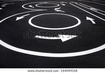 Road surface marking / photography of road markings and traffic symbol on surface road