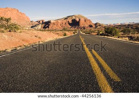 Road through Capitol Reef National Park in Utah