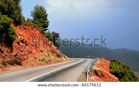 Road through the Atlas mountains in Morocco