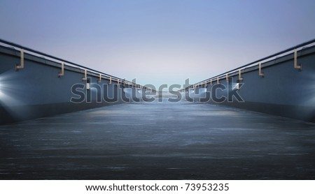 Road through the bridge with blue sky background #73953235