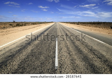 Road through the Nullarbor desert in Australia. Nullarbor means without trees