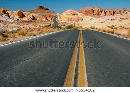 Road through the Valley of Fire State Park, Nevada, USA