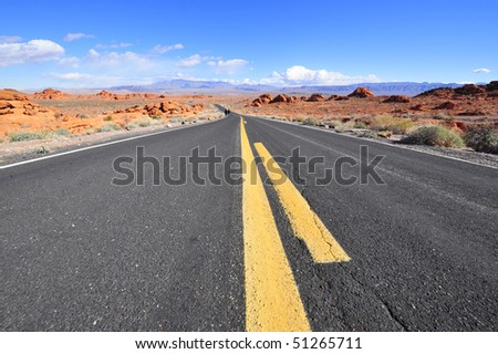 Road through valley of fire state park, USA