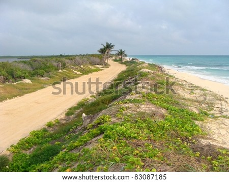 Road to Ascension Bay, Mexico, a thin peninsula surrounded by sea