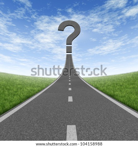 Road to change and business career path as a rising highway with a question mark on a blue summer sky and grass representing financial direction guidance and looking for answers.