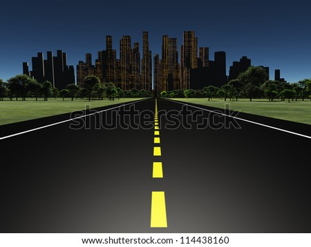 Road to city night - stock photo