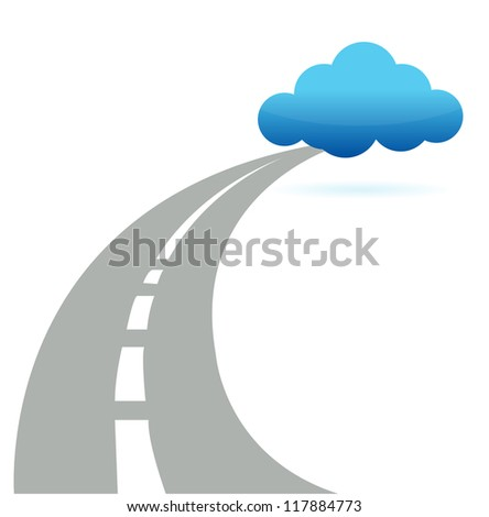 road to cloud computing illustration design over white