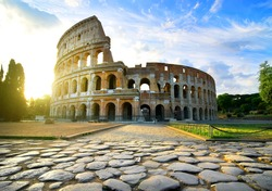 Road to Colosseum in calm sunny morning
