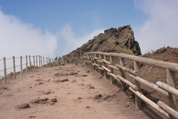 Road to Crater of Italy biggest volcano Vesuvius.  Panorama view. High quality photo.