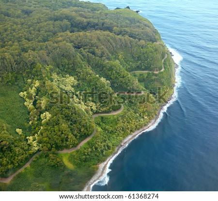 Road to Hana aerial - Maui, Hawaii - stock photo