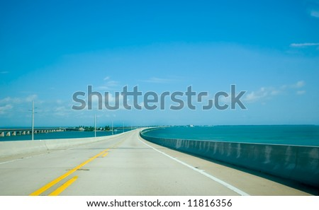 Road to Key West over Caribbean Blue Water