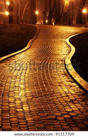 Road to Mariinsky Park at night - stock photo