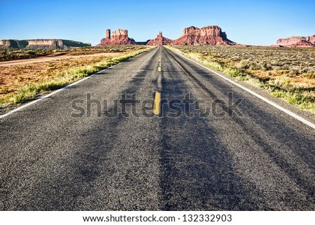 road to Monument Valley with blue sky