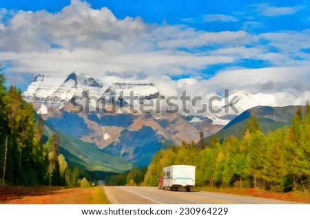 Road to Mount Robson at summer. Stylized as painting.