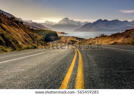 Road to mountain cook along pukaki lake ,South island ,New Zealand