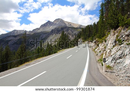 Road to Ofenpass (other name: Fuorn pass) in Val Mustair valley of canton Grisons (Graubunden), Switzerland.