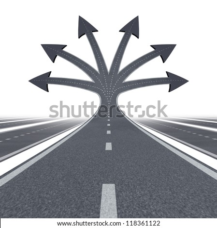 Road to opportunity and career choices  as a business or education symbol of choosing the best path and options for life success in the future as multiple streets and highways on white.