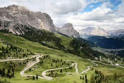 road to passo gardena alias grodner joch - dolomiti italy