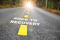 Road to recovery with sunbream . Challenge with success concept and natural background idea