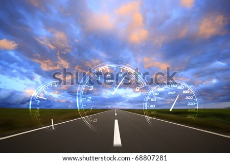 Road to the cloud. - stock photo