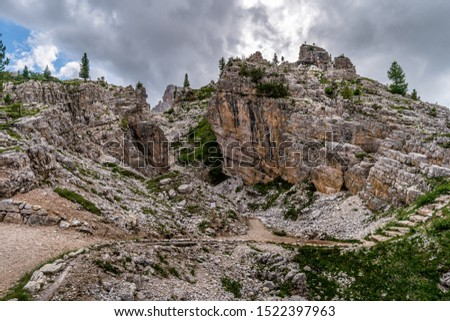 Road to the ruins at Dolomites mountain from the fiers world war in Italy alps. Photo stock ©