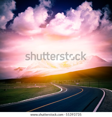 road to the sun wiht mountain and blue sky background outdoor.
