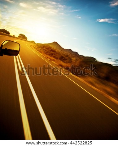 Road trip, car on the highway, speed drive, road-trip in sunny day, journey and freedom concept, travel and vacation  #442522825