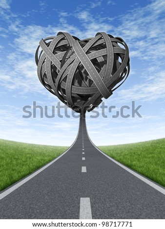 Road trip love with a road or street in dimensional perspective coming together in a tangled shaped heart on a blue sky and summer grass background as an icon of travel and journey on a path.