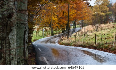 Road trough norwegian country road in rainy weather