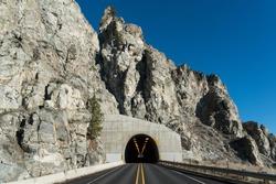 Road Tunnel - Mountain Tunnel in Washington State .