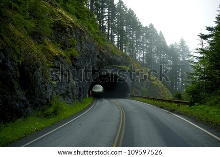 Road Tunnel - Mountain Tunnel in Washington State near Port Angeles, USA.