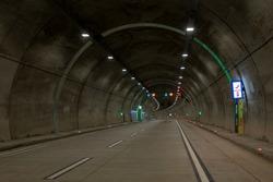 Road tunnel with night lighting. Camlica and Libadiye Highway Tunnel. New tunnel (Çamlıca), Istanbul