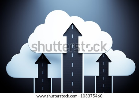 road up with white cloud and arrow on blue, business success concept