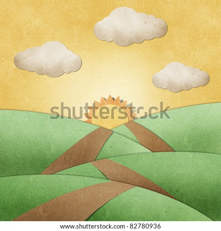 road view recycled paper craft  background