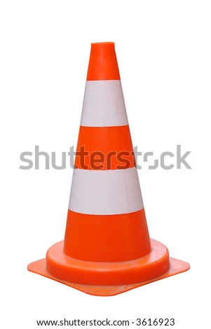 Road warning cone isolated on white