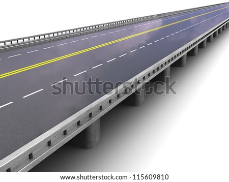 Road way with borders over white background