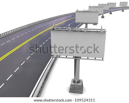Road way with empty billboards in perspective, 3d