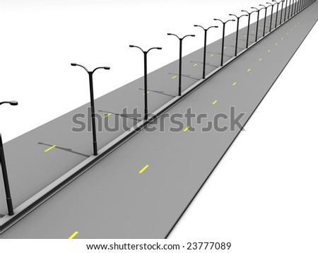 Road with Streetlamps