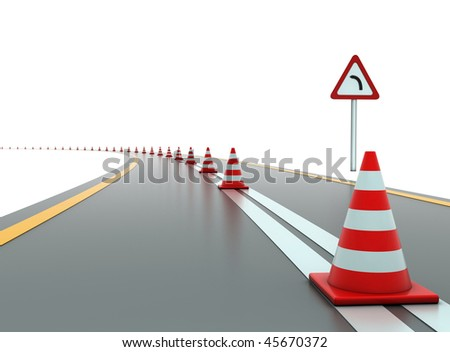 Road with traffic cones and sign
