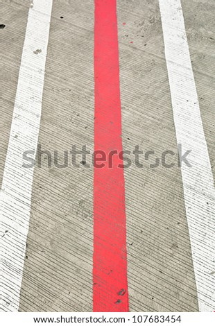 Road with white and red  lines