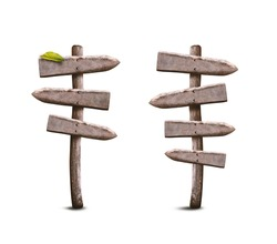 Road Wooden Signposts Set. Empty Path Guidepost Isolated on White Background. Signpost Symbol Made from Weathered Wood.