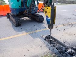 Road works  building site excavator