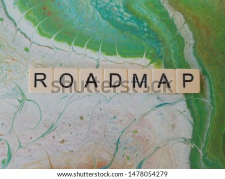 Roadmap  word in letters on a blue green background #1478054279