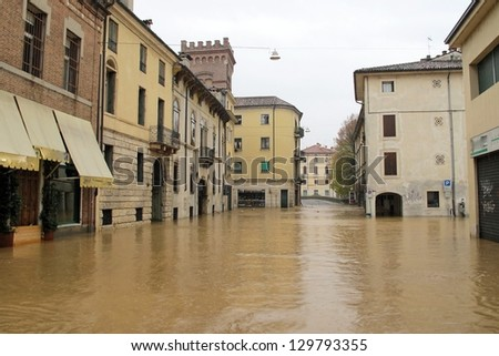 roads and streets of the city submerged by the mud of the flood after the flooding of the River #129793355