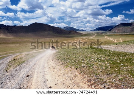 Roads in the desert steppes of Mongolia