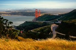 Roads near the Golden Gate Bridge, The Presidio, San Francisco, California, USA