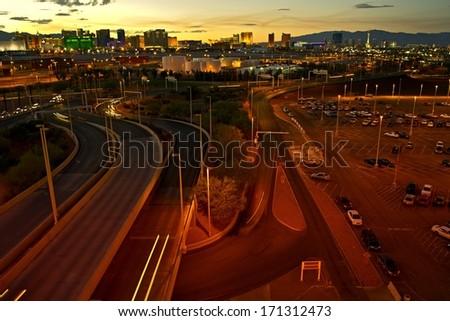 Roads of Las Vegas. Las Vegas Cityscape at Dusk. Las Vegas, Nevada, United States.